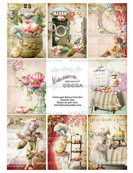 Antique Ephemera Vintage Easter ATC Size Collage Sheet - SC35