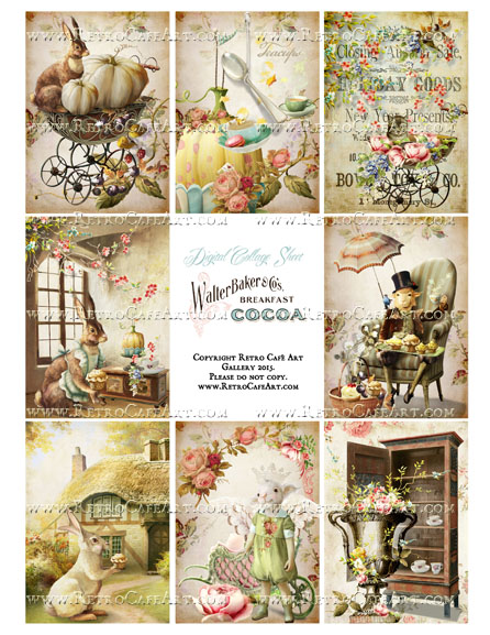 Antique Ephemera Vintage Easter ATC Size Collage Sheet - SC36