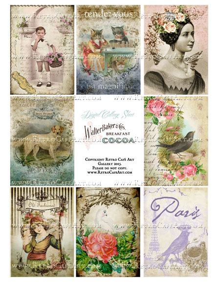 Classic Paris Antique Ephemera ATC Size Collage Sheet - SC37