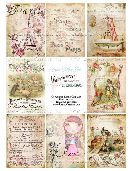 Classic Paris Antique Ephemera ATC Size Collage Sheet - SC38