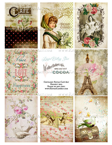 Classic Paris Antique Ephemera ATC Size Collage Sheet - SC39