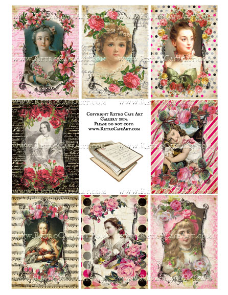 Vintage Valentine ATC Size Collage Sheet - SC3