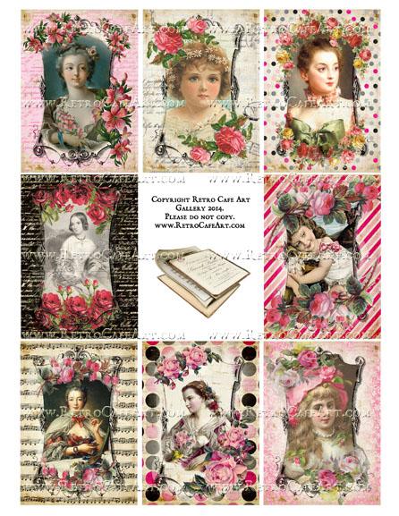 Vintage Valentine ATC Size Collage Sheet - SC3