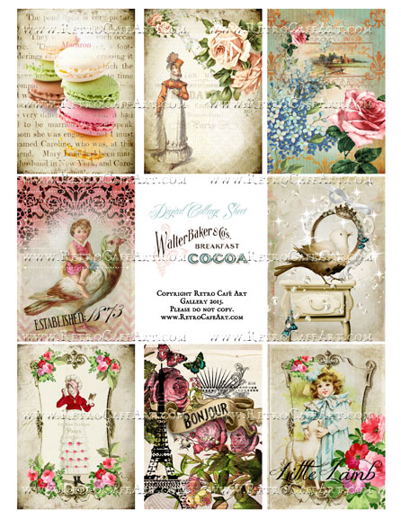 Classic Paris Antique Ephemera ATC Size Collage Sheet - SC40