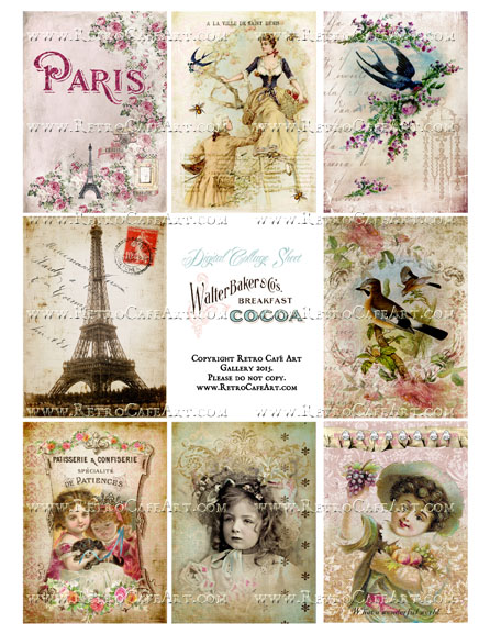 Classic Paris Antique Ephemera ATC Size Collage Sheet - SC42