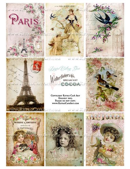 Classic Paris Antique Ephemera ATC Size Collage Sheet - SC42