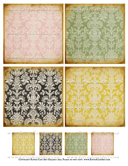 Antique Damask Collage Sheet - SC44