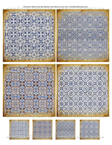 Antique Tile Collage Sheet - SC47