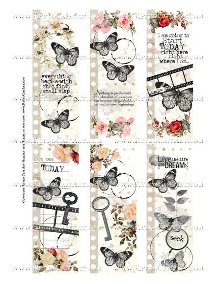 Antique Dream Papillon Bookmarks Collage Sheet - SC48