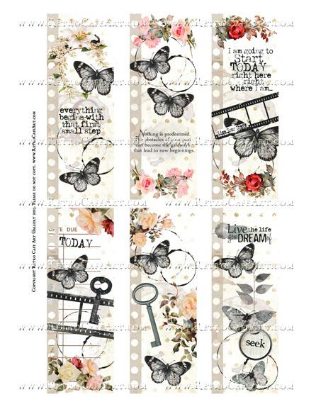 Antique Dream Papillon Bookmarks Collage Sheet - SC48