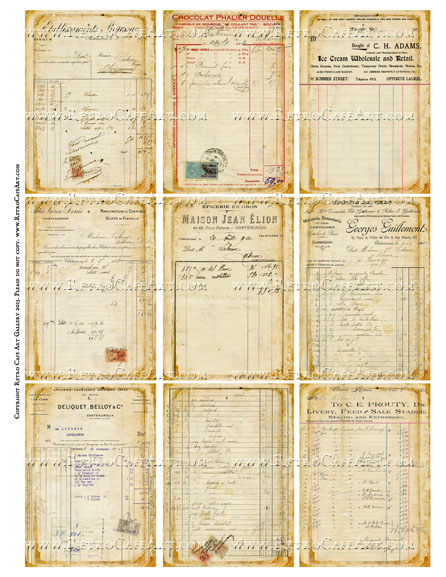 Antique Ephemera Vintage Ledger Receipts ATC Size Collage Sheet - SC49