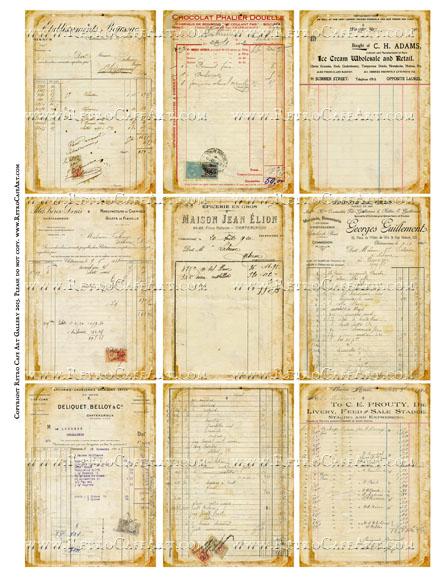 Antique Ephemera Vintage Ledger Receipts ATC Size Collage Sheet - SC49