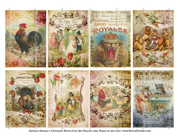 Antique Animals I ATC Size Collage Sheet - SC4
