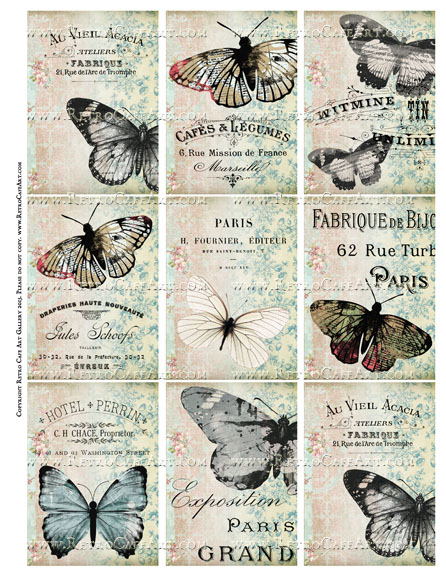 Old World Papillon Butterfly ATC Size Collage Sheet - SC50