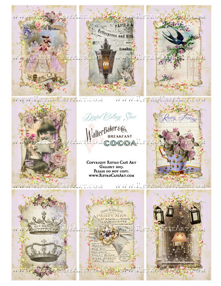 Lavender Cottage ATC Size Collage Sheet - SC51