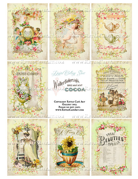 Yellow Cottage ATC Size Collage Sheet - SC52