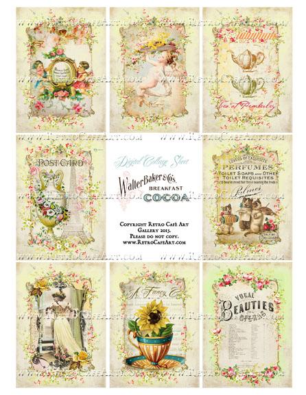 Yellow Cottage ATC Size Collage Sheet - SC52