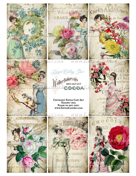 Pemberley Ladies ATC Size Collage Sheet - SC53