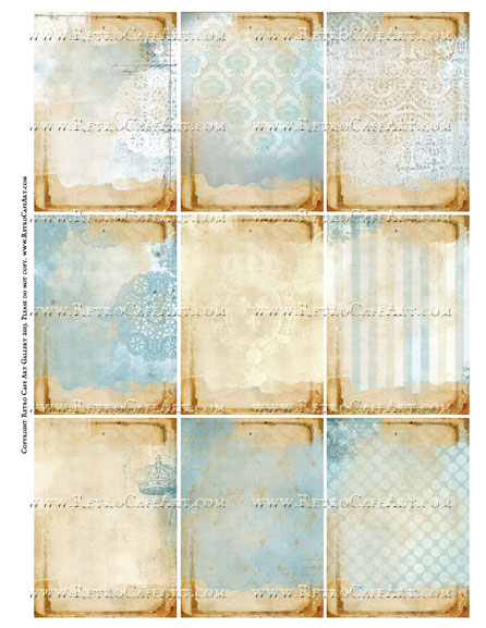 Versailles Blue ATC Size Collage Sheet - SC55
