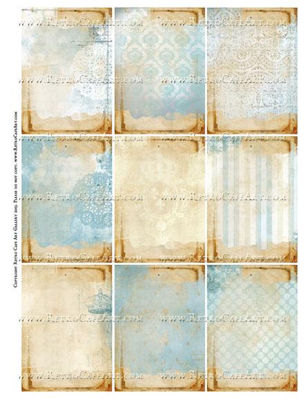 Versailles Blue ATC Size Collage Sheet - SC55