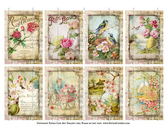 Antique Afternoon ATC Size Collage Sheet - SC57