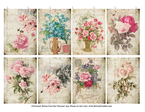 Bliss Vintage Fleurs ATC Size Collage Sheet - SC58
