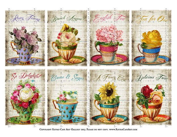 English Tea ATC Size Collage Sheet - SC59
