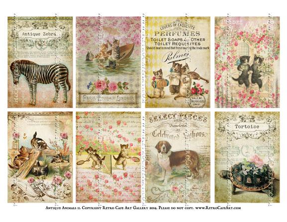 Antique Animals II ATC Size Collage Sheet - SC5