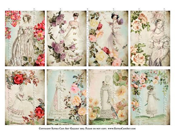 Fleur De Lis Ladies ATC Size Collage Sheet - SC61