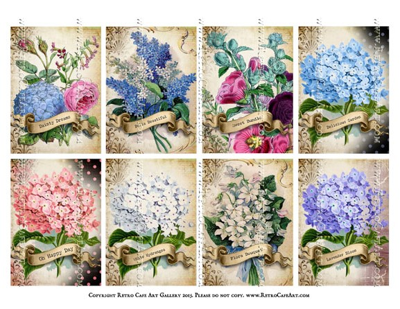 Floral Gardens ATC Size Collage Sheet - SC62