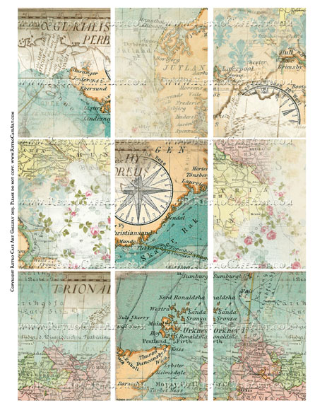 Mixed Maps ATC Size Collage Sheet - SC63