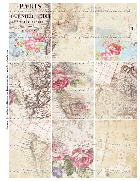 Shabby Maps ATC Size Collage Sheet - SC64