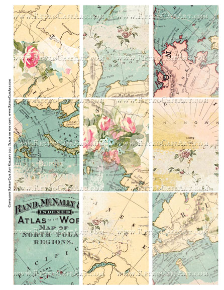 Fairy Maps ATC Size Collage Sheet - SC65