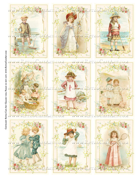 Sweet Vintage Beach Kids ATC Size Collage Sheet - SC66