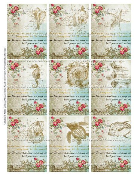 Sea Treasures ATC Size Collage Sheet - SC67