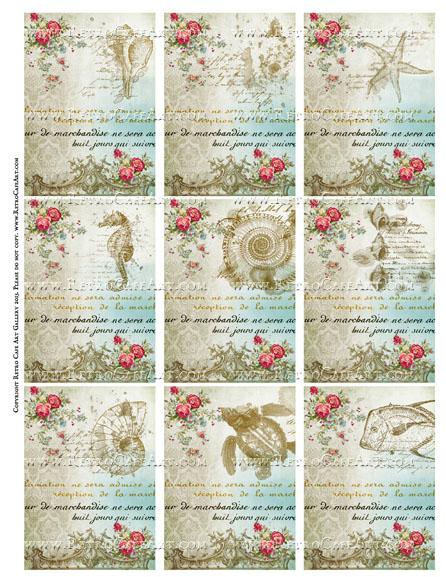 Sea Treasures ATC Size Collage Sheet - SC67