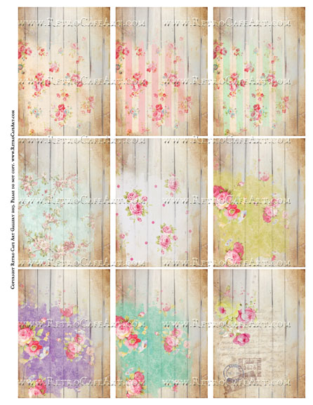 Shabby Planks ATC Size Collage Sheet - SC68