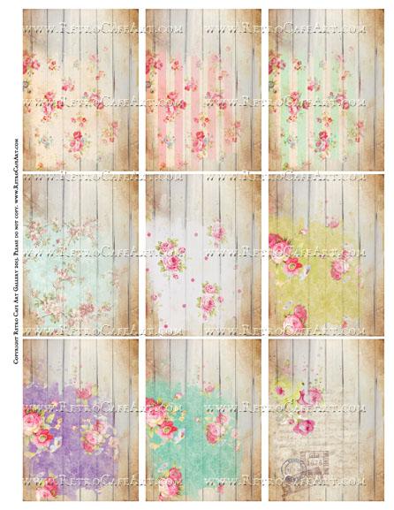 Shabby Planks ATC Size Collage Sheet - SC68