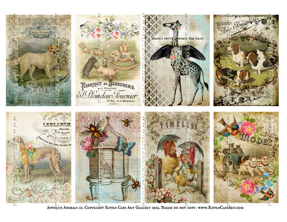 Antique Animals III ATC Size Collage Sheet - SC6