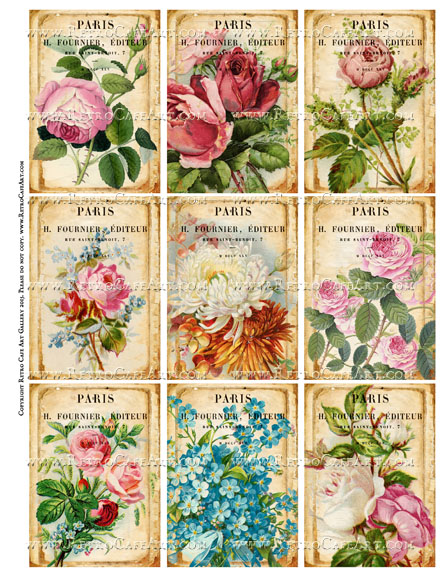 French Almanac Fleurs ATC Size Collage Sheet - SC71