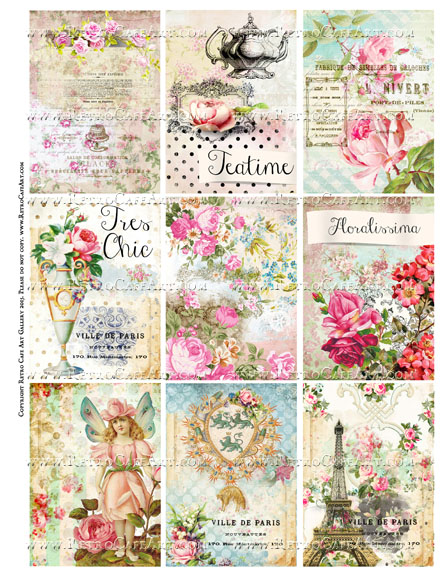 Mixed Floral ATC Size Collage Sheet - SC72