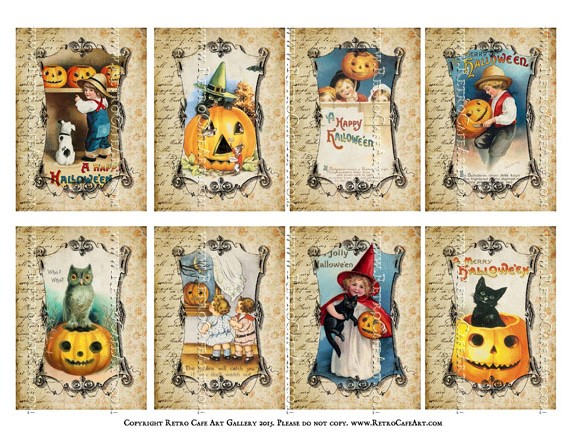 Vintage Halloween Vignettes ATC Size Collage Sheet - SC78