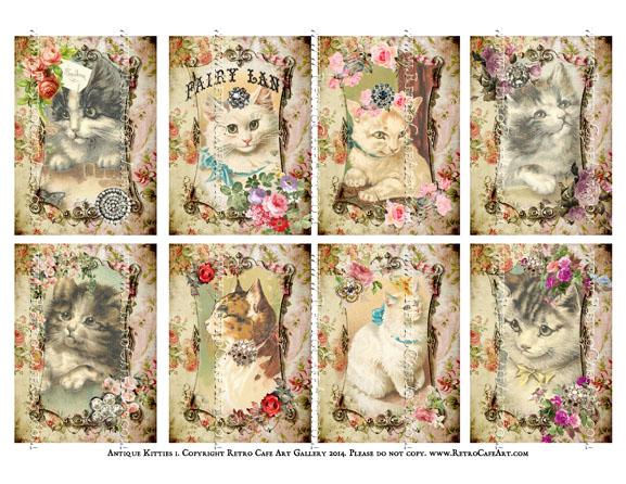 Antique Kitties I ATC Size Collage Sheet - SC7