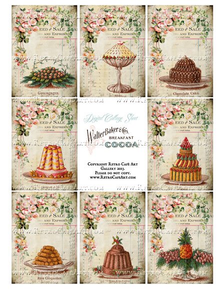 Bountiful Blessings Cakes ATC Size Collage Sheet - SC81