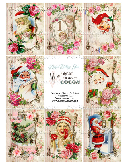 Vintage Rose Santa ATC Size Collage Sheet - SC82