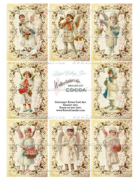 Victorian Winter Kids ATC Size Collage Sheet - SC83