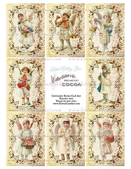 Victorian Winter Kids ATC Size Collage Sheet - SC83