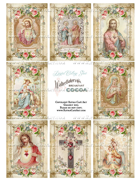 Sacred Heart ATC Size Collage Sheet - SC84
