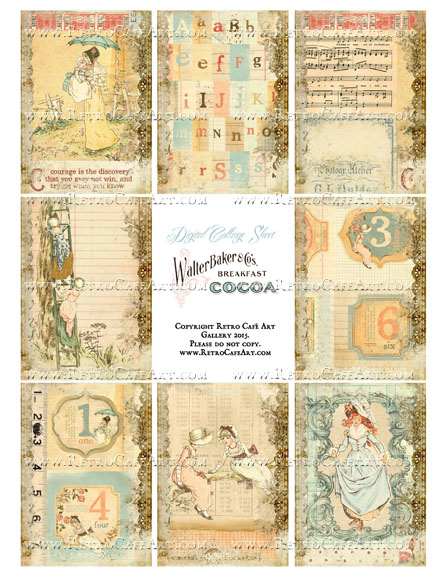 Almanac Storybook ATC Size Collage Sheet - SC86