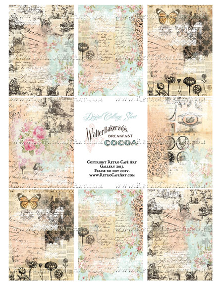 Altered Cottage ATC Size Collage Sheet - SC88